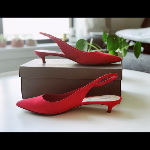 a505298dad charles and keith Shoes | Woman Suede Slingback Red Kitten Heels ...